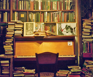 book, piano, and Shakespeare & Co image