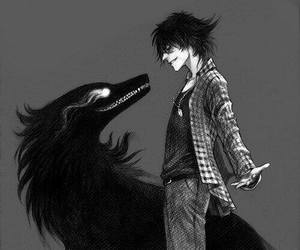 black, boy, and wolf image