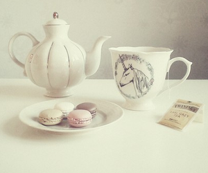 tea, pastel, and macaroons image