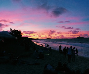 beach, sky, and sunset image
