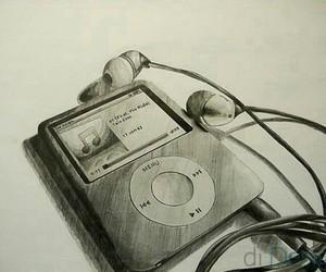 music, drawing, and ipod image