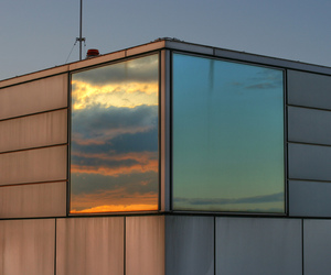 sky, sunset, and reflection image