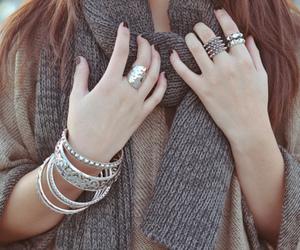 fashion, scarf, and bracelet image
