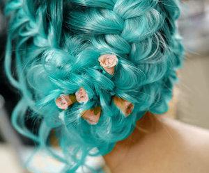 hair, braid, and flowers image