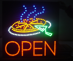 food, neon, and pizza image