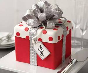 cake, christmas, and gift image