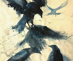 art, birds, and painting image