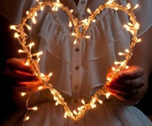 light, heart, and christmas image