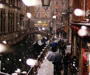 snow, winter, and venice image