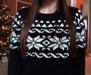 sweater, christmas, and hair image