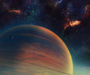 planet, galaxy, and stars image