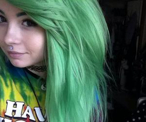 alternative, green hair, and Piercings image