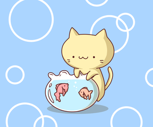 background, cat, and fish image