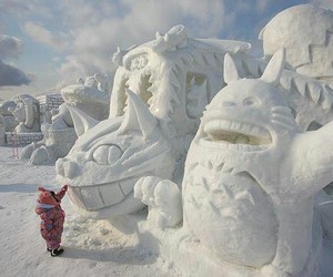 snow, totoro, and art image