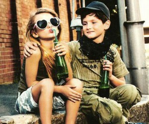 boy, girl, and drink image