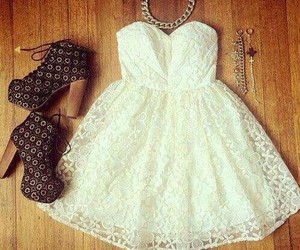 dress, lacey, and white image