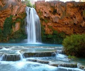 green, waterfall, and natural pools image