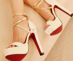 gold, heels, and light pink image
