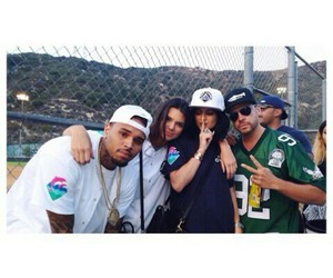 chris brown, kendall jenner, and kylie jenner image