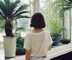 girl, plants, and vintage image