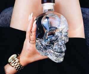 bottle, couples, and skull image