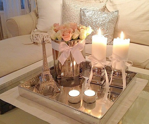 candle, home, and flowers image