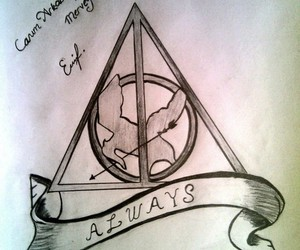 drawing, harry potter, and the hunger games image