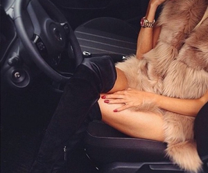 car, fur, and heels image