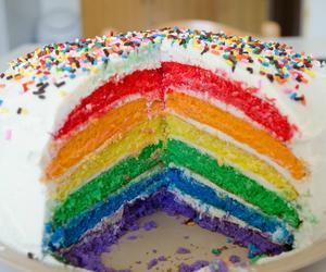 cake, rainbow, and food image