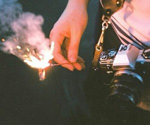 camera, hipster, and fire image