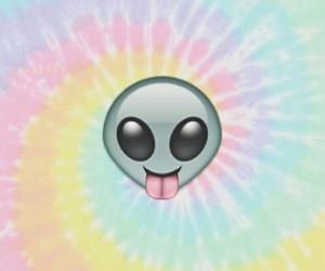 alien, emoji, and background image