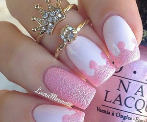 art, nails, and crown image