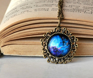book, galaxy, and necklace image