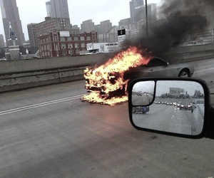 car and fire image