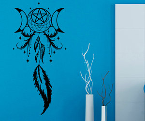 bedroom decor, dreamcatchers, and moon and stars image