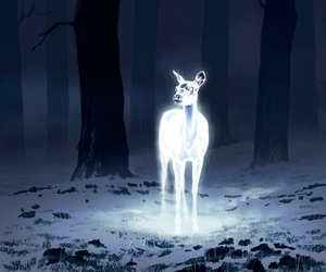 harry potter, deer, and patronus image