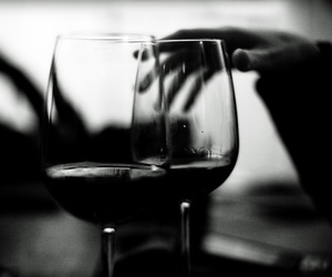 black and white, food, and wine image