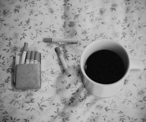 cigarette, coffee, and vintage image