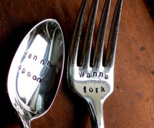 fork, spoon, and cute image