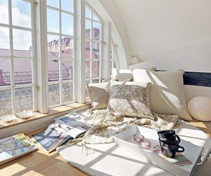 room, window, and white image