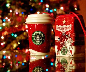 christmas, coffee, and starbucks image