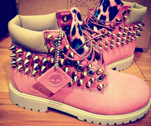 pink, timberlands, and spike image