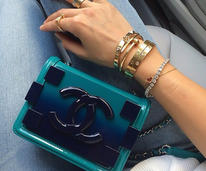 blue, chanel, and gold image