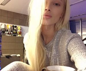 blonde, tumblr, and coffee image