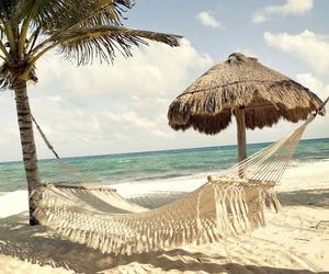 beach, hammock, and sea image