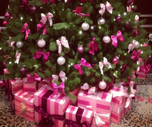 christmas, pink, and presents image