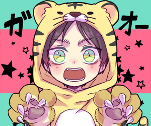 eren, chibi, and tiger image