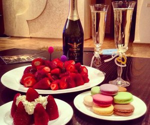 strawberry, champagne, and food image
