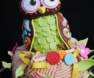 cake, owl, and colors image