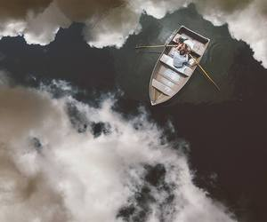 wedding, clouds, and boat image